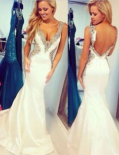 Sexy Prom Dress,Beading Prom Dresses,Mermaid Prom Dress,White Prom Dresses,Fashion Prom Dress,Cheap Prom Dresses,PD0086