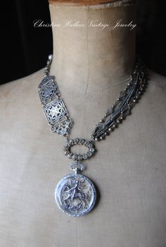 Warrior of the Faith--Vintage Assemblage Rosary Watch Fob French Jeanne D' Arc NECKLACE. $279.00, via Etsy.