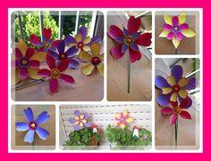 Flores de Plastco con botellas PET, ideal para para decoracion de jardin o terraza.../ DIY by Luz Arias