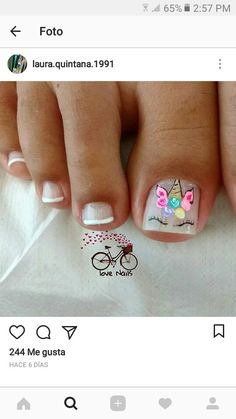 Uñas 🦄 is part of nails - nails Pedicure Designs, Pedicure Nail Art, Toe Nail Designs, Toe Nail Art, Pretty Toe Nails, Cute Toe Nails, Love Nails, Nails For Kids, Girls Nails