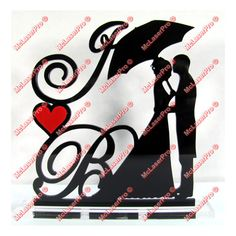 Custom Wedding Silhouette Cake Topper With 2 Initials, a Heart, your choice of colors/fonts and a FREE base for display