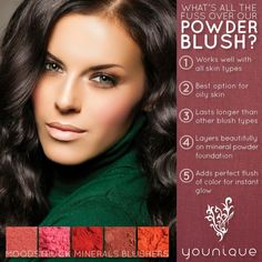 Here 5 advantages of using powder blush over other types of blush. It also shows the 5 fabulous colors of powder blush Younique has to offer. Get yours today. 3d Fiber Lash Mascara, Fiber Lashes, Mascara Tips, Younique Blushers, Makeup Younique, Makeup Cosmetics, Younique Presenter, Pigment Powder, Mineral Powder
