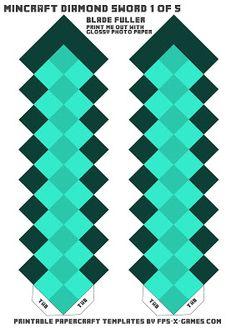 Minecraft diamond sword template one of five