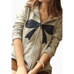 Leisure Dot Bowknot Print Lace Spliced Hooded Outerwear