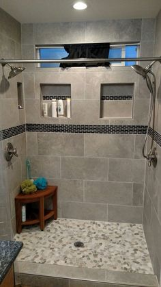 49 Luxurious Tile Shower Design Ideas For Your Bathroom is part of Master bathroom shower - Suppose you just moved into a new home It is the home of your dreams with one exception; Master Bathroom Shower, Steam Showers Bathroom, Bathroom Gray, Tile Showers, Shower Walls, Shower Niche, Diy Shower, Shower Floor, Large Tile Shower