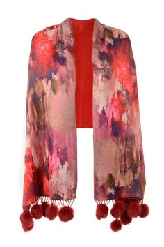 Jayley Red Floral Graphic Print Silk Wrap