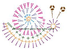 Crochet Snail - Chart ❥ 4U // hf