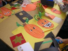 First graders just made these silly pumpkin faces using oil pastels and cut paper. It was a great project to practice drawing and cutting ...