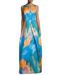 Sleeveless Abstract-Print Gown, Teal by Milly at Neiman Marcus.