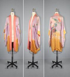 silk robe / vintage kimono / 1920s / BIRD by SunMoonWolfVintage