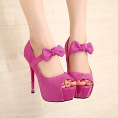 Pink bow knot high heels shoes