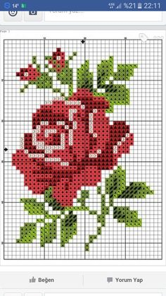 Cross stitch chart, a red rose with green leaves - Cross Stitch Cards, Cross Stitch Borders, Modern Cross Stitch, Cross Stitch Flowers, Cross Stitching, Cross Stitch Embroidery, Embroidery Patterns, Ribbon Embroidery, Funny Cross Stitch Patterns