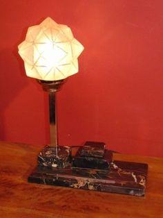 Lampa z kałamarzem chrom szkło Art Deco