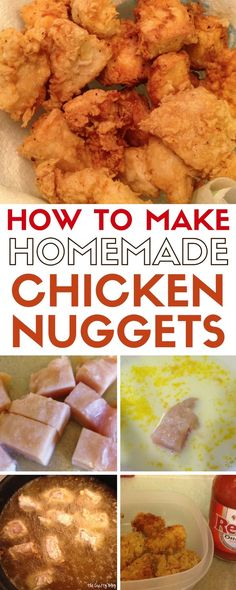 Serve up delicious homemade chicken nuggets that your family will love! An easy DIY dinner recipe idea. Bring the family together for dinner. Chicken Nuggets Calories, Chicken Nuggets And Chips, Fried Chicken Nuggets, Fried Chicken Breast, Pan Fried Chicken, Chicken Nugget Recipes Baked, Chicken Recipes, Turkey Recipes, Homemade Chicken Nuggets