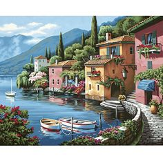 The Lakeside Village Paint-by-Number Kit by Paint Works comes complete with everything you need to make your painting. The kit's quality materials make it a great choice for budding artists. Encourage
