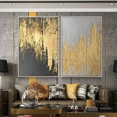 Abstract Painting Original Oversize Painting Gold Leaf Painting Abstract Acrylic Painting On Canvas - Dekor Diy Canvas Art, Acrylic Painting Canvas, Painting Abstract, Abstract Canvas, Gold Acrylic Paint, Gold Canvas, Acrylic Wall Art, Pour Painting, Living Room Pictures
