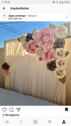 Paper Flowers backdrop for Quinceanera backdrop, Wedding Backdrop, Sweet 16 Backdrop, Bat Mitzvah Backdrop