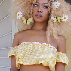Image of Yellow Gingham Crop Top
