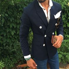 double button blazer for men