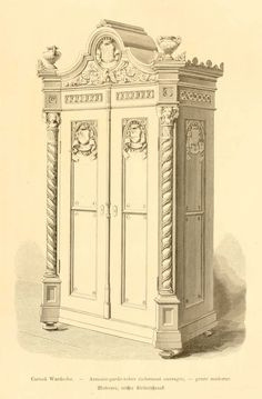 Dessins de mobilier tir s de catalogues de meubles de 1871 - Dessin d armoire ...