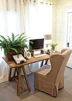 Great office space with wallpaper