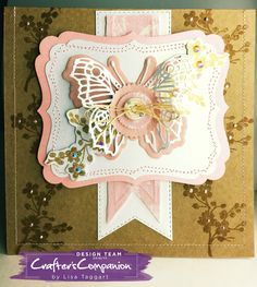 Card made made using Crafter's Companion Die'sire Mixed Media Dies - elements from Pennant Banners and Rosettes designed by Lisa Taggart #crafterscompanion