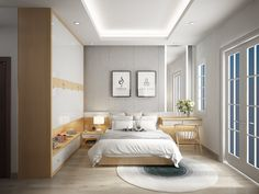 Here's another space saving bedroom design, this time using a more traditional layout. The full wall of storage and compact desk help reduce visual clutter. Minimalist Bed, Minimalist Home Interior, Home Interior Design, Modern Bedroom Decor, Contemporary Bedroom, Home Bedroom, Bedroom Ideas, Awesome Bedrooms, Beautiful Bedrooms