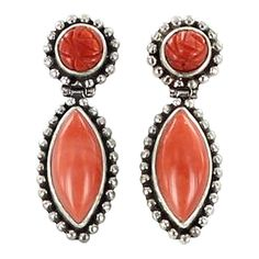 CORAL STERLING SILVER EARRINGS CARVED from New World Gems