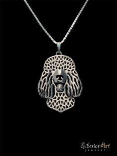 Irish Water Spaniel sterling silver pendant and necklace