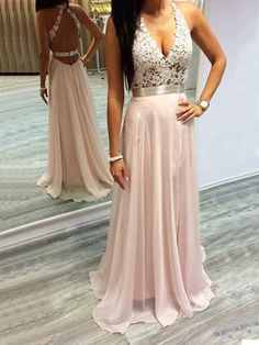 Sexy V Neck Pink Long Prom Dress Evening Dress