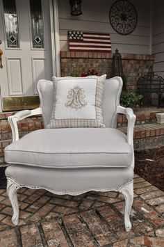 Shabby 2 Uniquely Chic: Elegant Gray Painted Fabric Chair
