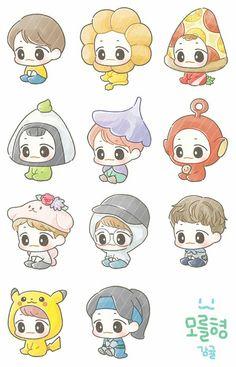 Exo Anime, Anime Chibi, Kawaii Anime, Anime Art, Exo Stickers, Kawaii Stickers, Cute Stickers, Kawaii Drawings, Cute Drawings