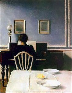 Vilhelm Hammershoi (1864-1916) Hvile dit aussi Repos 1905 Huile sur toile H. 49,5 ; L. 46,5 cm