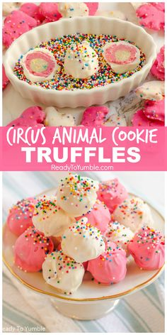 """Circus Animal Cookie Truffles – Ready to Yumble alt=""""Circus Animal Cookie Truffles are a fun and colorful no-bake dessert, with a pink-and-white layered surprise inside! Köstliche Desserts, Delicious Desserts, Dessert Recipes, Yummy Food, Birthday Desserts, Healthy Desserts, Candy Recipes, Sweet Recipes, Cookie Recipes"""