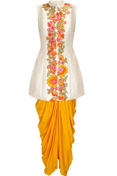 White embroidered jacket kurta with yellow dhoti pants available only at Pernia's Pop Up Shop.