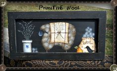 E PATTERN - Primitive Wool - Lovely primitive sheep done from an old painting of Terrye French. Painted by Sharon Bond