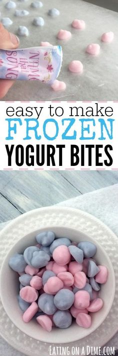 You just have to try these Easy Frozen Yogurt Bites - They take hardly any effort for a fun snack or treat for the kids.You just have to try these Easy Frozen Yogurt Bites - They take hardly any effort for a fun snack or treat for the kids. Lunch Snacks, Easy Snacks, Kid Snacks, Healthy Snacks, Snacks To Make, Fruit Snacks, Snack Bar, Protein Snacks, Baby Food Recipes