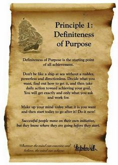 Principle 1 of Napoleon hill . Must read .