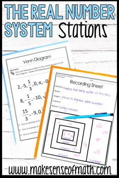 Check out these 8th grade math stations for the real number system.  Your middle school math students will love these fun and engaging activities that teach rational and irrational numbers.  They can also be used as notes and work better than just a worksheet.  Makes teaching the real number system a breeze. Click here to check out this product. #makesenseofmath
