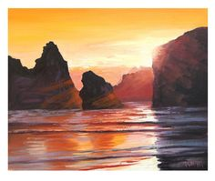 Oregon Sunset, By: Graham Gercken a.a Artsaus William Turner, Vincent Van Gogh, Unique Paintings, Original Paintings, Monet, Wood Painting Techniques, Coastal Wall Art, California Beach, Sunset Beach