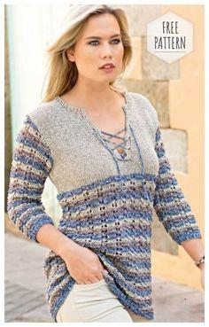El pulóver cotidiano con el acordonamiento y las rayas. Crochet Blouse, Knit Crochet, Crochet Abbreviations, Free Pattern, Knitwear, Knitting Patterns, Tunic Tops, Clothes For Women, Sweaters