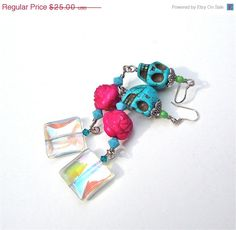 ON SALE Sugar skull jewelry  long funky by sparklecityjewelry