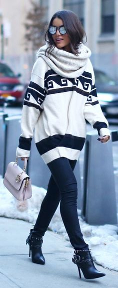 Black And White Western Girl Winter Outfit