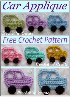 crochet applique Crochet Car Applique - Cute little car motif for use on children's sweaters, bibs, cardigans, blankets etc. it crochet's up really fast and is so simple to make. Crochet Baby Bibs, Crochet Car, Crochet Baby Clothes, Crochet For Boys, Free Crochet, Crochet Applique Patterns Free, Crochet Blanket Patterns, Crochet Appliques, Dress Patterns
