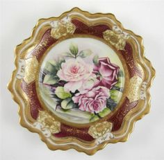 Nippon Bowl Hand Painted Roses Heavy Gold Trim Intricate Detailing Beads
