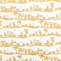 White & Gold Nativity Gift Wrap