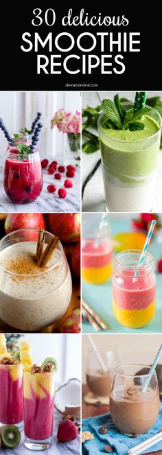 Smoothies are perfect as an energy-boosting snack, an on-the-go breakfast, or just a nutrient-packed beverage. Here are 30 healthy and delicious smoothie recipes to try. Green Drink Recipes, Yummy Smoothie Recipes, Breakfast Smoothie Recipes, Blender Recipes, Shake Recipes, Yummy Drinks, Healthy Drinks, Homemade Smoothies, Breakfast Fruit