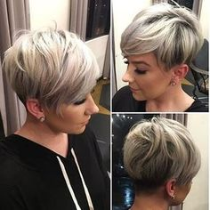 Sassy Undercut Pixie with Bangs Modern short pixie cuts are never cut evenly. Shaved sections can border on extra long pieces while being topped with mid-length spikes. Add a trendy blonde shade…More Haircuts For Fine Hair, Short Pixie Haircuts, Short Hairstyles For Women, Cool Hairstyles, Hairstyles 2018, Hairstyle Ideas, Hair Ideas, Sport Hairstyles, Pixie Long Bangs