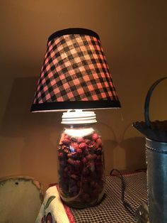 Primitive I Live by Stephanie Mason jar lamp with lamp shade $25 could be filled with buttons, lace, bobbins, spools......
