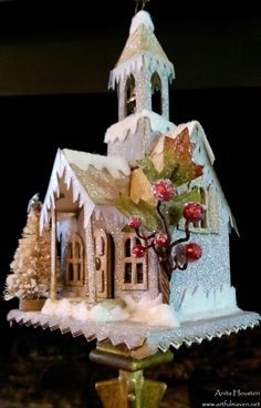 The Artful Maven: Christmas Classes! Noel Christmas, Christmas Paper, Christmas Projects, All Things Christmas, Vintage Christmas, Christmas Ornaments, Christmas Glitter, Christmas Village Houses, Putz Houses